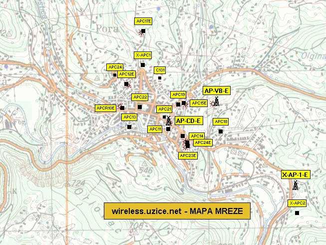uzice mapa Uzice bez zice   wireless   MAPA (karta) MREZE   bezicni internet uzice mapa